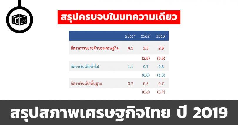 สรุปสภาพเศรษฐกิจไทย ปี 2019 ใน 1 บทความ